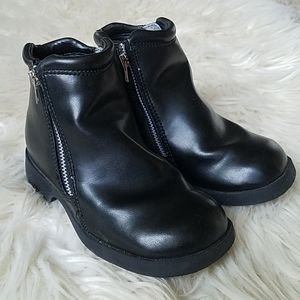 Black zippered ankle boots